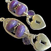 SALE SIlver earring charms, silver earrings, Sugilite charms for hoop earrings, Camp Sundance,