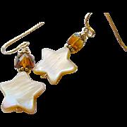 REDUCED Citrine  earrings, Madeira Citrine earrings, Camp Sundance, star charm, Gold filled, C