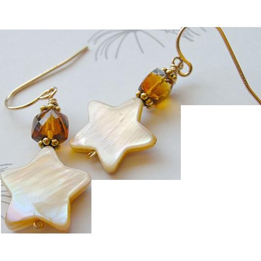 Citrine  earrings, Madeira Citrine earrings, Camp Sundance, star charm, Gold filled, Camp Sundance, Gem Bliss