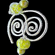 Silver spiral Hoops, Hoop earrings, Glass flower charms, Green Pearls, Camp Sundance, Gem Blis
