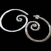 Silver Hoop earrings, Spiral Coil hoops, hammered, Camp Sundance, Gem Bliss