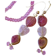 Pink Tourmaline earrings, Watermelon Tourmaline Slice, Gold earrings, Topaz, 14K, Camp Sundanc