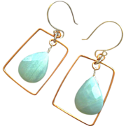 Amazonite hoops Copper earrings Silver Amazonite earrings Camp Sundance, Gem Bliss