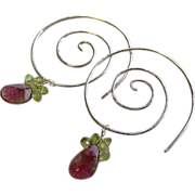 SALE Tourmaline Earrings, Silver Tourmaline Hoops, Camp Sundance, Gem Bliss