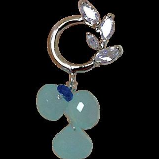 SALE Aqua Silver earrings, bridal, Camp Sundance, something blue, Gem Bliss