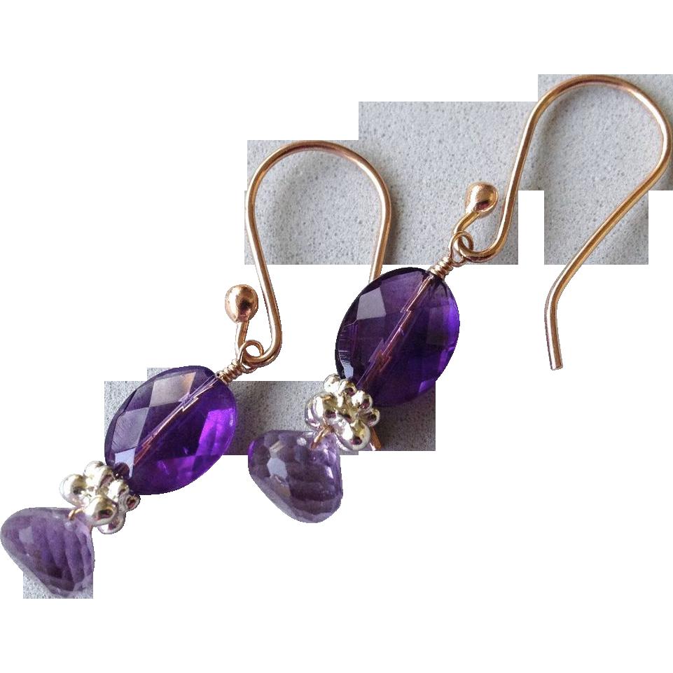 Amethyst earrings, Rose Gold filled, Camp Sundance, Gem Bliss
