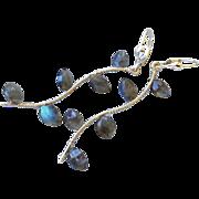 REDUCED Labradorite earrings, Silver Twig earrings, branch, vine, Camp Sundance, Gem Bliss, gi