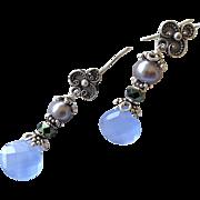 SALE Blue Bali Silver drop earrings elegance gray Pearl by Camp Sundance