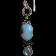SALE Larimar earrings,Labradorite, Silver drop earrings, Camp Sundance, Gem Bliss