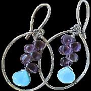 SALE Amethyst, Peruvian Opal, Silver hoop earrings, February Birthstone, Camp Sundance, Gem ..