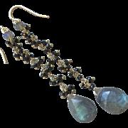 SALE Black Spinel Labradorite Statement earrings Gem Bliss