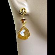 SALE Citrine 18K Vermeil elegant post earring November birthday Camp Sundance Gem Bliss