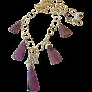 SALE Tourmaline necklace Carved Rubellite briolettes gold necklace Camp Sundance Gem Bliss