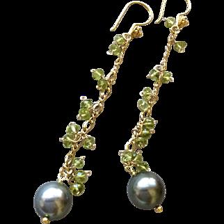 SALE Peridot earrings Tahitian Pearls earrings Vermeil chandelier earrings Gem Bliss