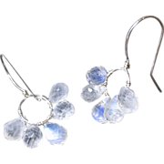 SALE Silver Moonstone earrings wire wrap hoop Bridal earrings Gem Bliss