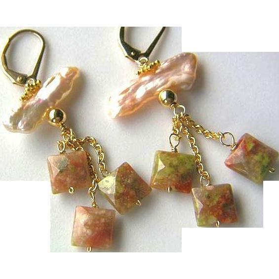 Keshi Pearls peach freshwater Epidot diamond squares tassel earrings