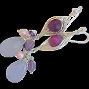 Chalcedony Amethyst dangle drop earrings Sterling Silver weave wrap Camp Sundance