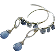 SALE Tanzanite earrings, Iolite hoops. Silver Hoop earrings, Camp Sundance, Gem Bliss