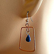 Copper Hoops Lapis Lazuli earrings briolettes Rose gold filled Vermeil