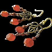 Goldstone Carnelian earrings Camp Sundance 14k gold filled Fall leaves