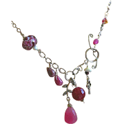Red Tulip asymmetrical necklace Silver mixed charms toggle Camp Sundance berry pink