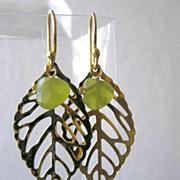 SALE Leaf green earrings Camp Sundance olive dangle drops