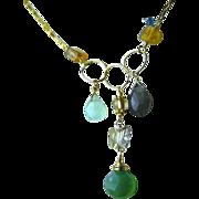 SALE Labradorite charms necklace, Onyx ,Citrine, Chalcedony, Gold filled necklace, Camp Sundan