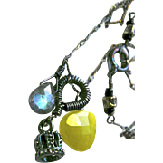 SALE Labradorite necklace Camp Sundance caviar crown mossy olive green Sterling Silver