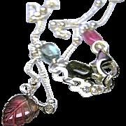 SALE Tourmaline necklace, Carved Tourmaline, Tourmaline Leaf, Solitaire necklace, Silver neckl