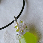 Chalcedony green Keshi Pearl crystal cluster Silver pendant charm necklace