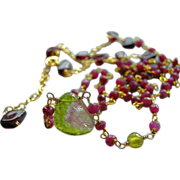 SOLD Ruby necklace, Tourmaline Necklace, gem Slice, Ruby links necklace, Gold filled, Camp Sun