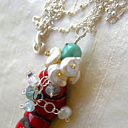 Coral Turquoise necklace Silver solitare Camp Sundance embellished pendant