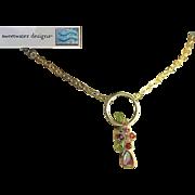 Tourmaline necklace, Silver Watermelon Slice, Peridot, cascade necklace, Camp Sundance, Gem Bl