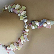 Pastel  pendant necklace Pearls candy colors Sterling Silver
