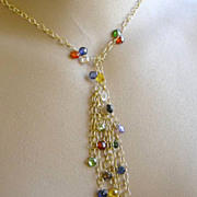 Long Lariat necklace jewel colors CZ tassels Gold filled Camp Sundance