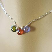 CZ briolettes Green Orange Purple Sterling silver necklace