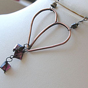 Copper Garnets forged heart Camp Sundance unique Silver necklace