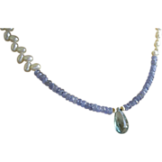 Tanzanite necklace, Fluorite briolette, Pearls, Camp Sundance jewelry, Gem Bliss