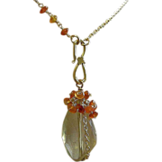 Lemon Citrine, embellished cascade necklace, Carnelian, Gold filled, Camp Sundance, Gem Bliss