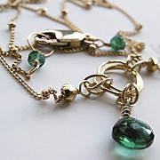 Chrome Diopside briolette solitaire Gold filled necklace