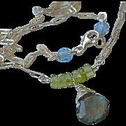 SALE Labradorite necklace, Peridot, solitaire necklace, layering necklace, Silver necklace, mi