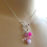 Pink Peonies toggle necklace briolette cluster Sterling Silver Camp Sundance