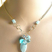 SALE Amazonite Necklace, Aquamarine, Apatite, Topaz, gem cascade necklace, Peruvian Opal ...