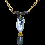 Moss Aquamarine, baroque Pearl, Labradorite, Neon Apatite, Aquamarine necklace, Gold filled, C
