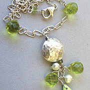 SALE Gaspeite green Sterling Silver pendant necklace Camp Sundance