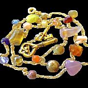 Long necklace, key charm, gemstone necklace, Gold filled, Camp Sundance jewelry, Gem Bliss
