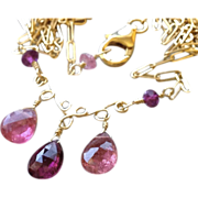SOLD Tourmaline necklace, scroll work necklace, Camp Sundance, Gem Bliss