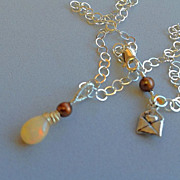 Opal Solitaire necklace chocolate Pearl Silver Camp Sundance