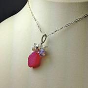 SALE Pink Drusy Topaz Keshi Opalite Garnet Ruffle necklace