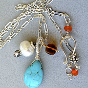 SALE Madeira Citrine Turquoise pearl 3 charm Silver necklace Camp Sundance
